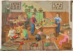 Szocreál festmény 1956-ból Tiszavölgyi János festménye 100x70 cm EREDETI GARNCIÁVAL !!!!
