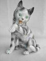Német porcelán cirmos cica macska