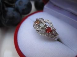 Valódi és ritka: sárga, zöld és vörös zafír ezüst gyűrű - egyedi darab