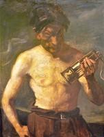 Kukán Géza ( 1890-1936) Bányász lámpással c olajfestménye 98x78 cm EREDETI GARNCIÁVAL !!!!
