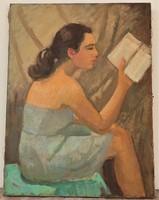 Szocreál festmény 1947-ból Tiszavölgyi János festménye 80x60 cm EREDETI GARNCIÁVAL !!!!
