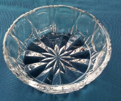 Szépen csiszolt kristály üveg tál, kínáló, 15 cm az átmérője