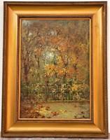 Bruck Hermina (1865-1944) kilátás a teraszról c olajfestménye 90x70 cm EREDETI GARNCIÁVAL !!!!
