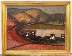 Szlávik Lajos(1922-1997) Uszályok a Bodrogon c. képcsarnokos festménye 90x70cm EREDETI GARNCIÁVAL !!