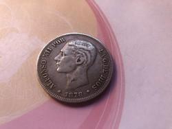 1878 spanyol ezüst 5 peseta 25 gramm 0,900