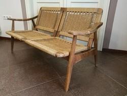 Skandináv, dán design, cord papír borítású kanapé