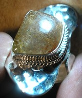 925 ezüst gyűrű, 18,1/56,9 mm, állítható, rutilkvarccal