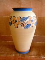 Kézzel festett, belül mázazott virág mintás nagy kerámia váza 32 cm