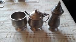 Antik ezüstözött réz fűszertartó