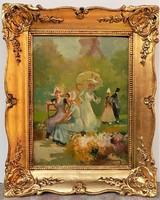 Burghard Bélaváry István (1864-) Virágpiaci életkép c. olajfestménye 53x43cm Eredeti GARANCIÁVAL !
