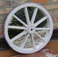 Vintage - fehér színben kocsi kerék tükör