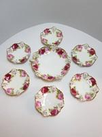 GYÖNYÖRŰ RITKASÁG! Rosenthal Bavaria Moliére Cacilie rózsa mintás desszertes készlet 1+6 db