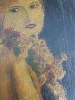 Falapra festett százéves dáma, kb.30x30-as