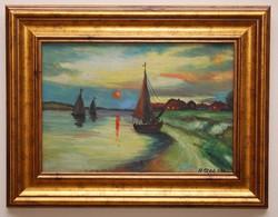 H. Szabó Gábor Balaton táj festmény
