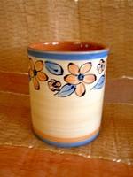Kézzel festett, belül mázazott virág mintás kerámia henger alakú váza 16 cm fakanál tartónak is