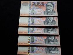 2008-as 20000.-Ft ,bankjegy, számkövető    3.db UNC
