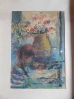 Kling György Kislány és virág