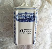 Antik fajansz nagy fűszertartó Kávé