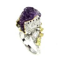 Kézzel készített durva termeszetes csiszolatlan 18x14mm lila Ametiszt es  Peridot 925 ezüst gyűrű