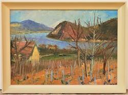Karácsony Irén (1908-1992) Dunakanyar c. képcsarnokos festménye 76x56cm Eredeti Garanciával !!!