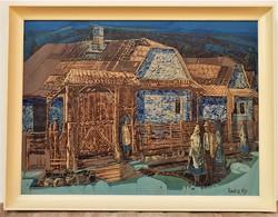 Xantus Gyula (1919-1993) Székelykapu c. képcsarnokos olajfestménye 86x66cm EREDETI GARANCIÁVAL !!!