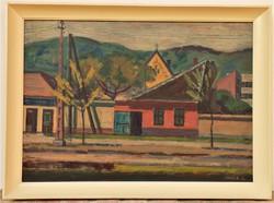 Orosz László ( 1928-2000) Óbudai utcarészlet c. képcsarnokos festménye 76x56cm Eredeti garanciával !
