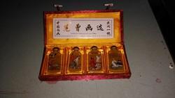 Kézzel festett  keleti motívumos kis üvegek Japán vagy Kínai
