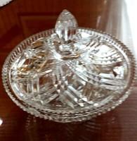 Mutatós metszésű, dekoratív üveg bonbonier, cukortartó