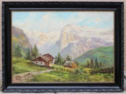 F.Wabrizka? jelzéssel: Alpesi tájkép 70x100 cm