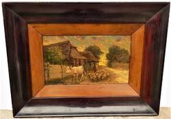 Pállya Carolus ( Károly) (1875-1949) Hazafelé c. olajfestménye EREDETI GARANCIÁVAL !!!!!