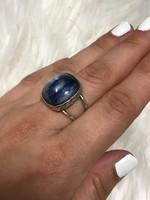 Mesés ezüst gyűrű Kék misztikus kővel 19mm átmérő