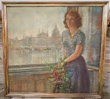 Porter Paula (1884-1944) Önarckép a Parlamenttel 1914 körül hatalmas 145x135cm EREDETI GARANCIÁVAL