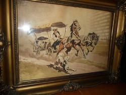 BENYOVSZKY ISTVÁN Kutyától megriadt lovak akvarekép eladó szép keretben