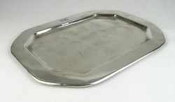 0S978 Antik jelzett ezüstözött alpakka tálca