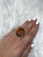 Mesés ezüst gyűrű borostyán kővel  18mm átmero