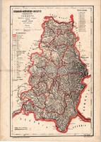 Krassó - Szörény megye közigazgatási térkép 1880, eredeti, vármegye, XIX. század, Hátsek Ignácz