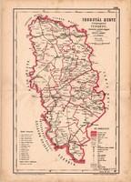 Torontál megye közigazgatási térkép 1880, eredeti, vármegye, XIX. század, régi, Hátsek Ignácz, megye