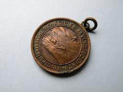 KK02 Régi angol életmentő bronz medál