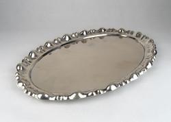 0T003 Ovális alakú hólyagos ezüst tálca 813g