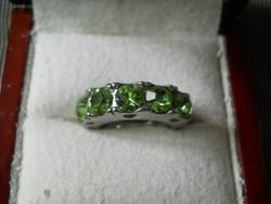 Zöld köves acél gyűrű