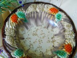 Különleges majolika tál, asztalközép, őszi színvilág