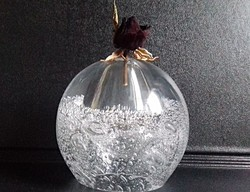 Buborékos üveg levélnehezék asztali dísz