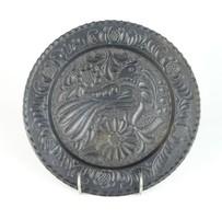 0T038 Jelzett Korondi fekete cserép falitányér