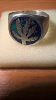 Vagány férfi gyűrű kannabisz levél intarziával azurit malachit ásványba ágyazva