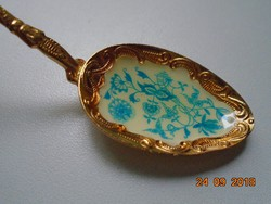 Zománc meisseni hagyma mintával,tűzaranyozott dísz kiskanál-13 cm