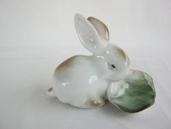 Zsolnay porcelán káposztaleveles nyuszi