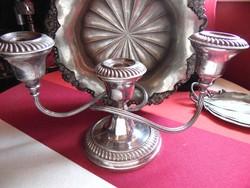 Csodás antik 3 ágú ezüstözött gyertyatartó