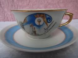 Porcelán - JELZETT -  Francia antik aranyozott  csésze 2 dl - csészealj 16 cm
