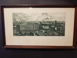 """Csisztu Mihály rézkarc """" Nyíregyháza"""" 1983"""