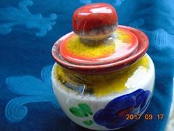 ZELLER KERAMIK számozott kézzel festett MAJOLIKA cukortartó vidám színekkel